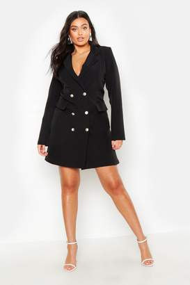 boohoo Plus Double Breasted Blazer Dress