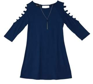 Amy Byer Jersey Long Sleeve Dress with Necklace (Big Girls)