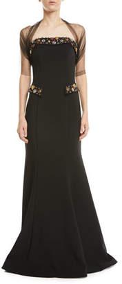 Jovani Strapless Embellished-Pocket Gown