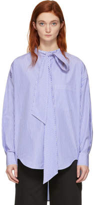Balenciaga White and Blue New Swing Shirt