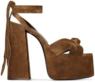 Saint Laurent brown Paige 155 suede platform sandals