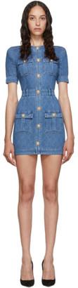 Balmain Blue Quilted Denim Mini Dress