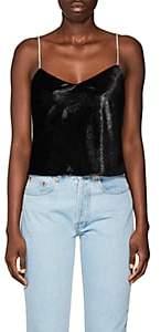 Area Women's Evita Crystal-Strap Velvet Cami-Black