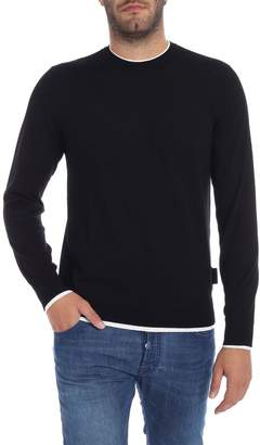 Emporio Armani White Detail Wool Sweater
