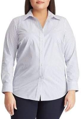aae7791f0cb Lauren Ralph Lauren Plus Embroidered Stripe Button-Down Shirt