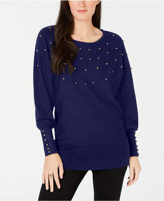 JM Collection Studded Dolman Sweater