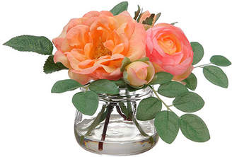 August Grove Edge Hill Silk Roses in Glass Vase