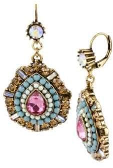 Betsey Johnson Multi Color Crystal and Bead Teardrop Earrings