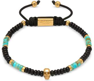 Northskull Atticus Skull Macrame Bracelet In Black Onyx W/ Turquoise And Yellow Gold