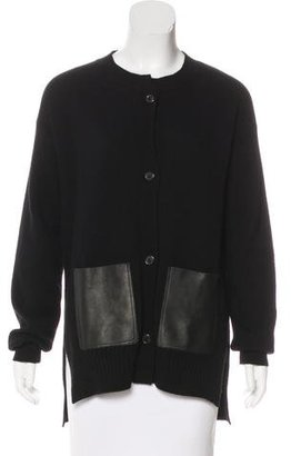 Jil Sander Leather-Trimmed Cashmere Cardigan