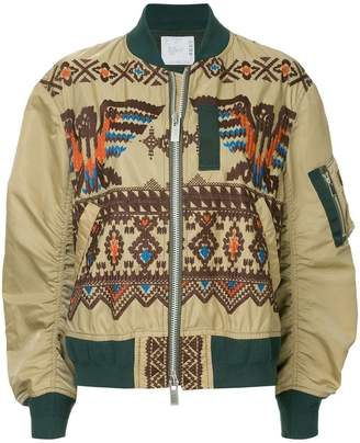 Sacai embroidered flight jacket