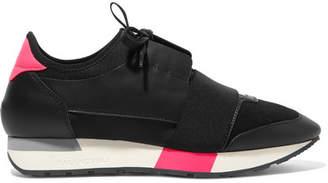 Balenciaga Race Runner Leather, Mesh And Neoprene Sneakers - Black