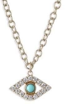 Sydney Evan XL Evil Eye Diamond& Turquoise Pendant Necklace
