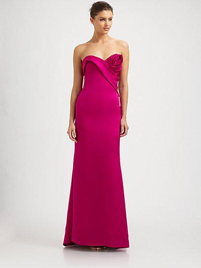 Notte by Marchesa Silk Satin Rosette Gown
