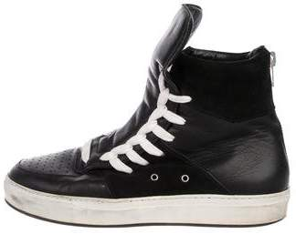 24441c224c Kris Van Assche Leather High-Top Sneakers