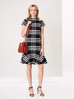Oscar de la Renta Large Check Double-Face Wool Shift Dress