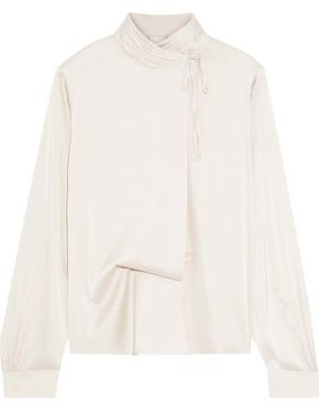 Iris & Ink Tulia Draped Satin-crepe Turtleneck Blouse
