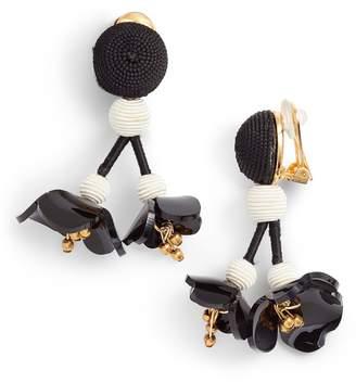 Oscar de la Renta Falling Flower Drop Earrings