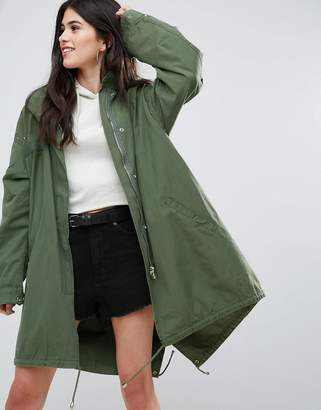 Missguided Khaki Sequin Back Oversized Parka