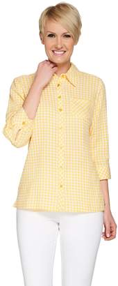Denim & Co. Gingham Check Button Front Stretch Blouse with Pocket