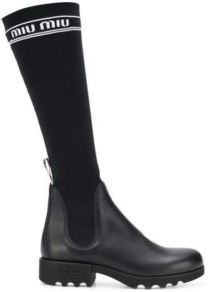 Miu Miu knee high sock boots