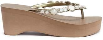 Uzurii 'Pearl Marilyn High Heel' crystal wedge thong sandals