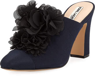 Karl Lagerfeld Paris Neva Heeled Mules with Flower Appliqué