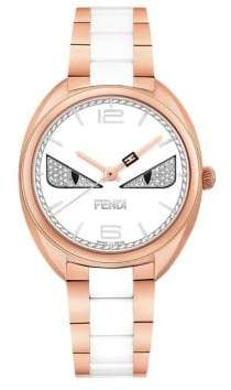 Fendi Momento Bug Diamond, Rose Goldtone Stainless Steel& Ceramic Bracelet Watch