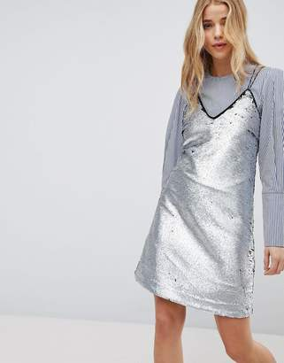 New Look Matte Sequin Slip Dress