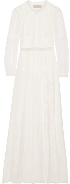 Burberry Burberry - Lace-trimmed Silk-crepon Gown - Ivory