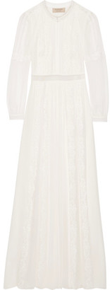 Burberry - Lace-trimmed Silk-crepon Gown - Ivory $1,795 thestylecure.com