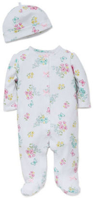 Little Me Baby Girls Two-Piece Floral Printed Footie and Hat Set $11.95 thestylecure.com