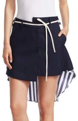 Monse Striped Asymmetric Shirt-Back Skirt