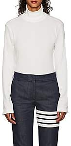 Thom Browne WOMEN'S RIBBED COTTON TURTLENECK SWEATER-WHITE SIZE 44 IT