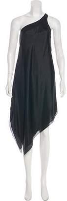 Ralph Lauren One-Shoulder Silk Midi Dress