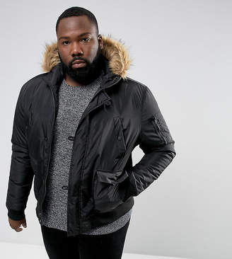 French Connection PLUS Short Padded Parka with Faux Fur Hood