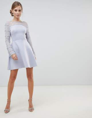 Asos Design DESIGN Scuba Mini Dress with Embellished Sleeves and Back Detail
