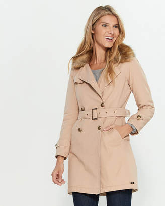 Gaudi' Gaudi Faux Fur Collar Trench Coat