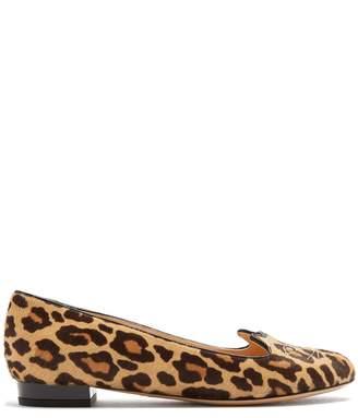 Charlotte Olympia Kitty leopard-print calf-hair flats
