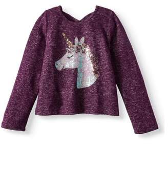 Btween Sequin Unicorn Sweater Knit Top (Little Girls)