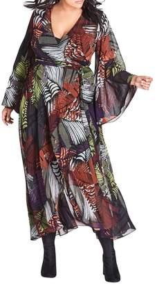 City Chic Winter Palm Print Maxi Dress