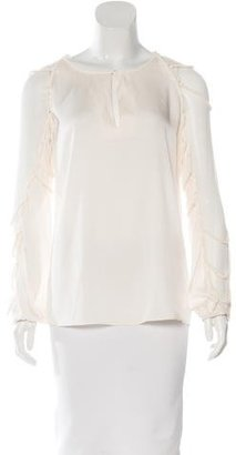 Elie Tahari Silk Long Sleeve Blouse $70 thestylecure.com