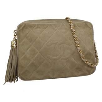 Chanel Vintage Camera Khaki Suede Handbag