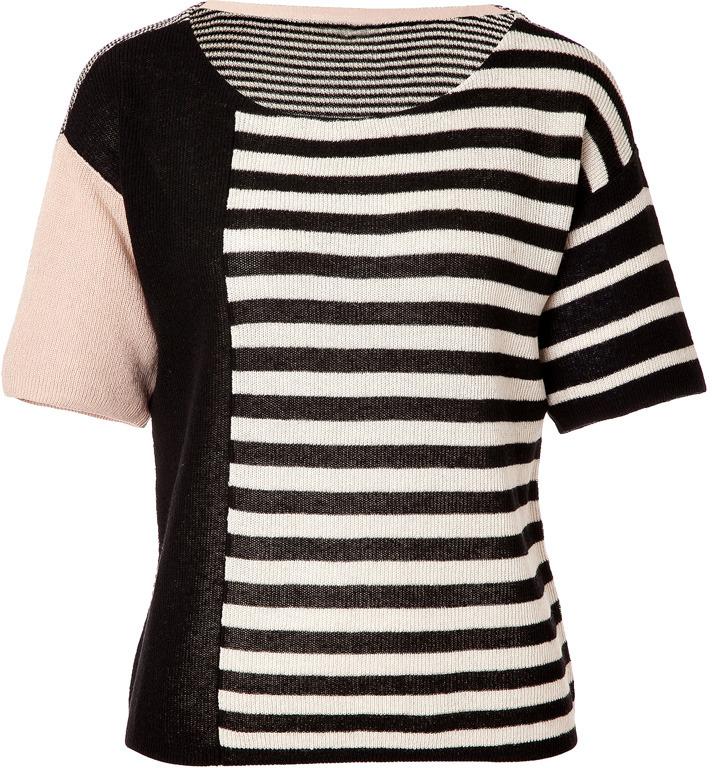Sonia Rykiel Sonia by Black-Multi Striped Knit Cotton-Linen Top