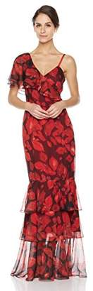 Social Graces Women's Asymmetric Faux-Wrap Ruffle Tiered Mermaid Skirt Evening Gown