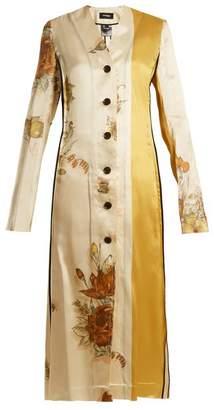 BEIGE Kwaidan Editions - Vallens Raw Edge Floral Print Dress - Womens Multi