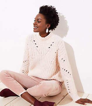 LOFT Pointelle Mock Neck Sweater