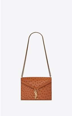 Saint Laurent Cassandra Monogram Clasp Bag In Ostrich