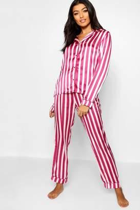 boohoo Satin Stripe Button Through PJ Set