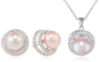 Bella Pearl Halo Pearl Necklace and Earrings Jewelry Set